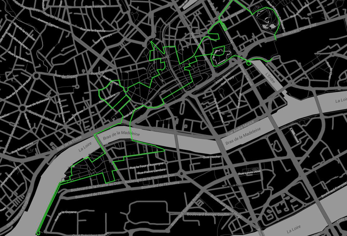 La ligne verte, parcours du Voyage à Nantes.